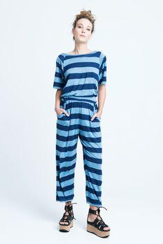 sara bailes x jersey jumpsuit x blue stripe