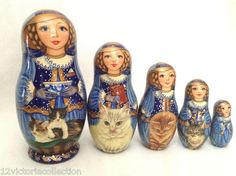 CATS Kitten Hand Carved Painted UNIQUE Russian Nesting Doll Set