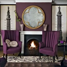 I don't like the natural-look framing on the chimney art (I would prefer silver or black), but I LUUUUURVE everything else! Living Room Modern, Living Room Designs, Living Room Decor, Living Rooms, Purple Rooms, Purple Walls, Purple Interior, Room Interior Design, Living Room Ideas