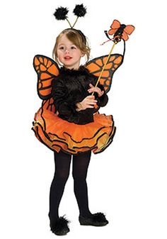 Kids Orange Butterfly Costume, Not Just for Halloween! Orange Butterfly Costume features a fuzzy black leotard with attached layers of orange chiffon tutu Butterfly Wings, Headpiece, wand, and shoe puffs included. Orange Butterfly, Butterfly Fairy, Butterfly Dress, Butterfly Birthday, Butterfly Wings, Cheap Halloween, Toddler Halloween Costumes, Halloween Kids, Happy Halloween