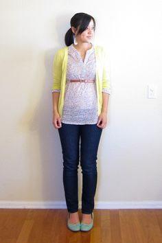 maternity style: non-maternity tunic belted above bump.  colors!