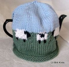 Sheep in the Field Hand Knitted Teapot Cozy by lilbritknits