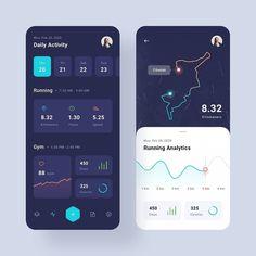 Health & Workout App - UI Design Hi This is a mobile. Informations About Health & Workout App - UI Ui Design Mobile, App Ui Design, User Interface Design, Mobile Ui, Web Design, Design Basics, Dashboard Design, Flat Design, Training Apps