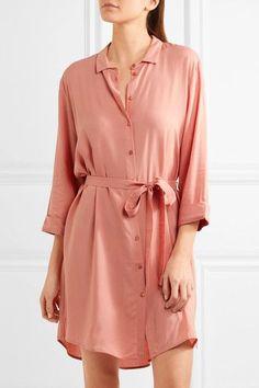 Hanro - Crepe Shirt Dress - Blush - x small