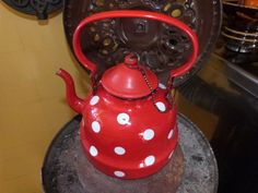 Antique enamel kettle coffee pot red polka dot, enamelware red tea kettle, cottage chic France , French country home kitchenware
