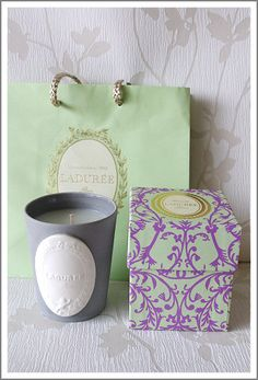 Bougie Ladurée Green And Purple, Mint Green, Cute Packaging, Product Packaging, Paris Shopping, Journal Themes, Candle Lanterns, Twinkle Twinkle, Color