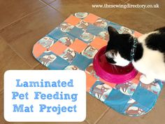 Make a wipe-clean patchwork mat for your pet's food bowls!