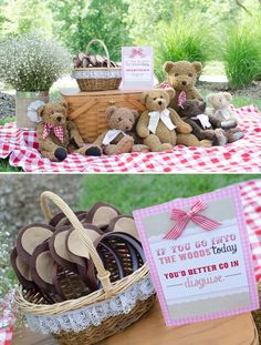"CUTE Teddy Bear Picnic Birthday Photos + Inspiration! Love the bear ears with ""if you go out in the woods today"" sign!"