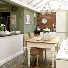 Rustic kitchen-diner House to Home UK Ideal Home, Home, Conservatory Dining Room, New Homes, House Interior, Kitchen Dining Room, Dining Room Decor, Home Kitchens, Rustic Kitchen