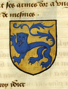 Escutcheon decorated with heraldry of Rion | Noms, armes et blasons des chevaliers de la Table Ronde | France | ca. 1500 | The Morgan Library & Museum