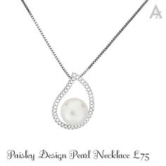 #pearl #wedding jewellery #paisley #pendant #bridaljewelry Pearl Necklace Designs, Paisley Design, Wedding Jewelry, Jewellery, Pearls, My Favorite Things, Pendant, Silver, Jewels
