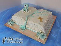 Bible shaped baptism cake