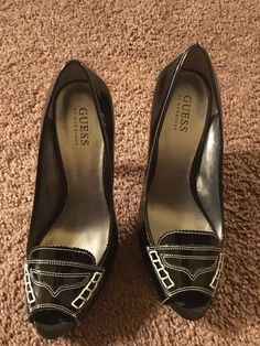 Womens Guess Peep Toe Heels Black and White Size 7 1 2 | eBay