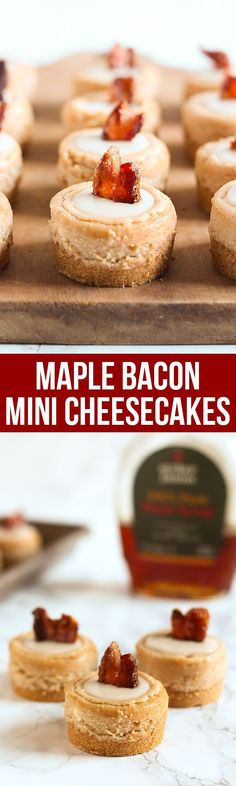 Maple Bacon Mini Cheesecakes are sweet-salty cream cheese perfection! They even have a piece of candied bacon as a garnish AND bacon fat in the graham cracker crust. Talk about YUM.