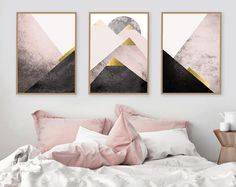 Instant downloadable set of 3 printable art prints of Mountains in blush pink black gold Scandinavian modern Triptych Bedroom Decor posters