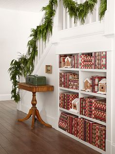 From our sister site, @Country Living Magazine, Lesson #5 of adding Christmas charm to every room of your home: Spread cheer in unexpected ways - like covering books with gift wrap.