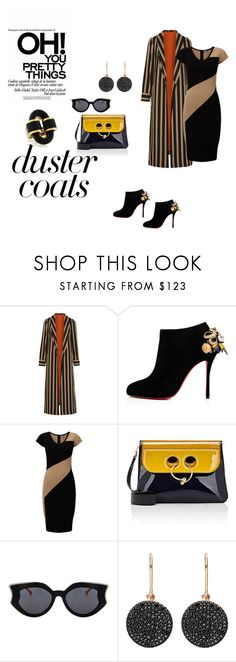 """Stripes"" by micettes ❤ liked on Polyvore featuring Etro, Christian Louboutin, Phase Eight, J.W. Anderson, Astley Clarke, Fall, black, stripes, urbanchic and DusterCoats"