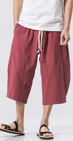 INCERUN Mens Casual Baggy Cotton Linen Harem Pants Solid Color Loose Frog  Button Trousers is warm ab7b38f38