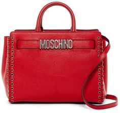 Moschino Whipstiched Leather Satchel & Pouch