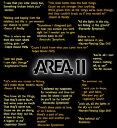 Area 11 Song Quotes.