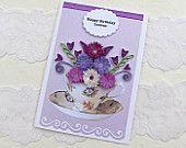 Papier Quilling Greeting Card Papier Stachelbesetzter Teetasse personalisierte lila Blüten Tea Party Geburtstag Glückwünsche Get auch handgefertigte Australien