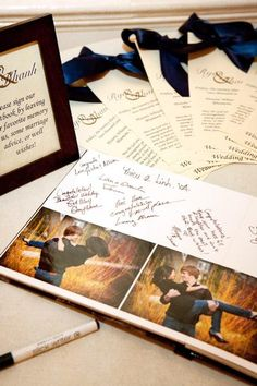 engagement photo book as a guest book!  Great idea!