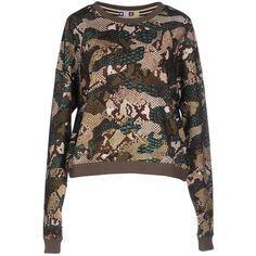 Msgm Sweatshirt ($150) ❤ liked on Polyvore featuring tops, hoodies, sweatshirts, military green, sweat shirts, military fashion, long sleeve cotton tops, long sleeve tops and military sweatshirts