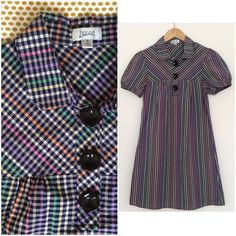 """Gingham Checked Shift Dress Full description coming soon!  Unlined. Very good used condition with no stains, holes, or tears. 95% cotton, 5% spandex.  Flat Measurements: 14"""" shoulders 17.5"""" bust 36"""" length Lucca Dresses"""