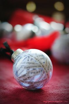 Quote Ornament ~ how lovely 'twould be with Christmas Bible verses in it!!
