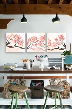 Wedding Guest book tree on canvas with birds in by LovaluDesign