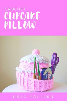 Create your own Cupcake Pillow! Cute, big, and soft. The free crochet pattern is available and it allows for pockets to hold anything you wish!