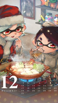 +_+ 2girls :d aori_(splatoon) belt_buckle black_belt black_hair bowl buckle cabbage calendar chopsticks commentary_request controller cooking cousins cup december domino_mask drinking drinking_glass earrings face_mask fire food grey_sweater hat highres holding hotaru_(splatoon) indoors inkling_(language) jar jewelry kashu_(hizake) kotatsu long_sleeves looking_away looking_down mask mask_pull mole mole_under_eye monster_girl multiple_girls number open_mouth photo_(object) plant pointy_ears…