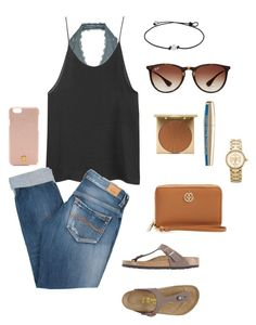 """""""Untitled #176"""" by rosiemccumiskey ❤ liked on Polyvore featuring Free People, Ray-Ban, Pepe Jeans London, Birkenstock, Stila, Tory Burch and L'Oréal Paris"""