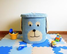 DOG - huge basket with cover that can be useful decoration for your childrens room. It is available in 89 colors. So, it will suit to any interior and make it unique and cozy. This crochet basket will be amazing place for many toys or laundry. Cover will