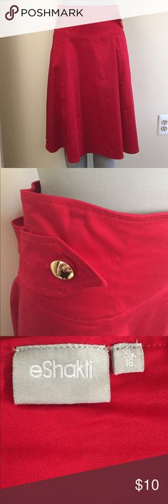 Cherry red, high waisted skirt. Gorgeous bright red. A-line cut. Gold button sash detail. Heavy cotton stretch. Flat measurements- waist to floor=24, waist=18 eshakti Skirts A-Line or Full