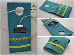 Charging station and cable bag for mobile ♥ happ. Charging station and cable bag for mobile ♥ happy – Cicek Yildiz – Felt Crafts, Diy And Crafts, Sewing Crafts, Sewing Projects, Little Gifts, Diy Gifts, Sewing Patterns, Pouch, Creative