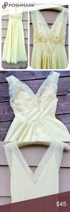 "Vintage Lemon Meringue Embroidered Slip Nighgown Stunning vintage slip done in the soft lemon meringue color. Gorgeous  Embroidered bust, done in light yellow and champagne leaves. The neckline and shoulders are done in a gorgeous lemon chiffon as is the ham of the slip. Has a slight Empire cut to it. Made by Vanity Fair. Made of Nylon & Tricot.  Bust-28-34"". Waist-free, but max 34'. Hips- free, but max 55"". Length-55"". No flaws to note Vintage Intimates & Sleepwear Chemises & Slips"