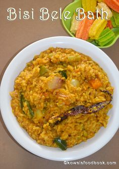 Bisi Bele Bath Recipe, Bisi Bele Huli Anna, Karnataka Special Lunch - LLearn how to make bisi bele bath step b y step pictures Bath Recipes, Veg Recipes, Indian Food Recipes, Cooking Recipes, Ethnic Recipes, Best Rice Recipe, Veg Biryani, Prepped Lunches, How To Cook Rice