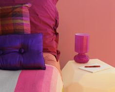 Pink and purple bedroom with pink bedside lamp and silk bed cushions Farrow Ball, Painting Bathroom Tiles, Dulux Valentine, Silk Bedding, Clothing Boxes, Bedroom Paint Colors, Paint Colours, Latest Colour, Pink Walls