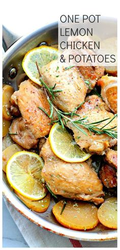 One Pan Lemon Chicken and Potatoes - This super easy, amazingly flavored dish with chicken and potatoes is a complete meal made all in one pan and in just Entree Recipes, Easy Dinner Recipes, Cooking Recipes, Healthy Recipes, Meal Recipes, What's Cooking, Healthy Dinners, Cooking Time, Yummy Recipes
