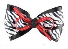 Black White Zebra Print with Red Hair Bow - $11.99