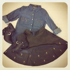MISS MATCH:  Tionne Denim Shirt With Skull Buttons http://www.missguided.co.uk/tionne-denim-shirt-with-skull-buttons-55301 / Cross Embellished Leather Skirt http://www.missguided.co.uk/cross-embellished-leather-skirt & Namya Leather Fringed Ankle Boots http://www.missguided.co.uk/namya-leather-fringed-ankle-boots    #MGcompetition