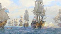 Here's a new commissioned painting for an American client - Geoff Hunt's HMS Victory leading the main squadron at the Battle of Cape St Vincent, 14 February 1797. Oil on linen canvas 20 x 40 inches.