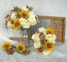 Sunflower bridal bouquet sunflower roses wedding bouquet silk bridal bouquet set. $109.00, via Etsy.