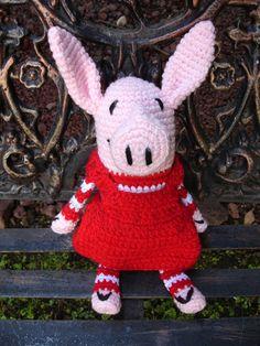 Pig amigurumi (my daughter likes 'OLIVIA' this May come in handy GG) Crochet Quilt, Crochet Yarn, Crochet Toys, Crochet For Boys, Cute Crochet, Little Girl Toys, Yarn Crafts, Diy Crafts, Yarn Stash