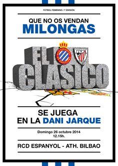 Cartel para partido de Liga. RCD Espanyol - Ath. Bilbao. Fútbol Femenino.