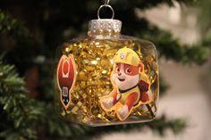 "Paw Patrol ""Rubble"" Christmas Ornament- 4-Sided, Cube Shaped Christmas Light Bulbs, Christmas Crafts, Christmas Decorations, Christmas Stuff, Christmas Ideas, Christmas Tree, Paw Patrol Christmas Ornaments, Rubble Paw Patrol, School Holidays"