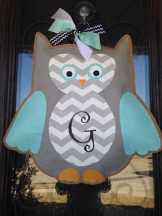 A personal favorite from my Etsy shop https://www.etsy.com/listing/223624864/hand-painted-burlap-owl-door-hanger