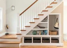 Impressive-Under-Stair-Storage-vogue-Other-Metro-Beach-Style-Staircase-Remodelin. Impressive-Under-Stair-Storage-vogue-Other-Metro-Beach-Style-Staircase-Remodeling-ideas-with-baskets-clever-use-of-space-newel-post-staircase-storage-. Stair Shelves, Staircase Storage, Shelves Under Stairs, Entryway Storage, Open Shelves, Under Staircase Ideas, Small Staircase, Basement Storage, Entryway Ideas