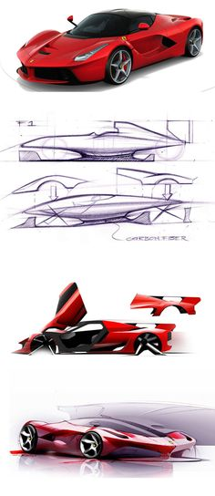 Ferrari - Great supercar design sketches & 3D